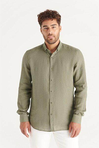 Avva Erkek Haki Düz Düğmeli Yaka Comfort Fit Keten Gömlek A11y2191
