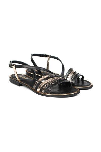 Greyder Kadın Siyah Fashıon Tokalı Sandalet 57337 Zn s