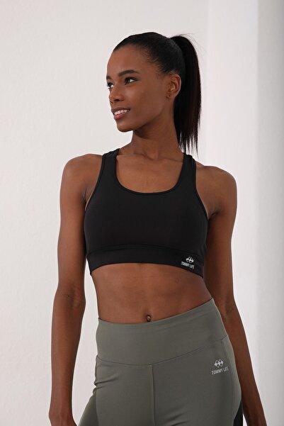 Tommy Life Siyah Kadın Sırt Detaylı Slim Fit U Yaka Spor Büstiyer - 97120