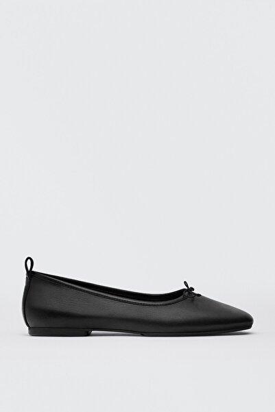 Massimo Dutti Kadın Siyah Yumuşak Deri Düz Babet Ayakkabı 11574850