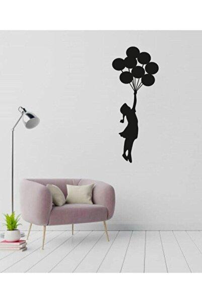 ULTTASARIM Lazer Kesim Dekoratif Tablo Ahşap Duvar Süsü Uçan Balonlu Kız