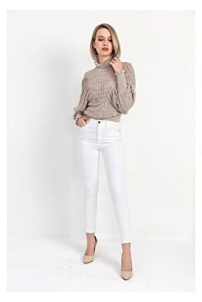 Yüksek Bel Skinny Jean Pantolon - Beyaz