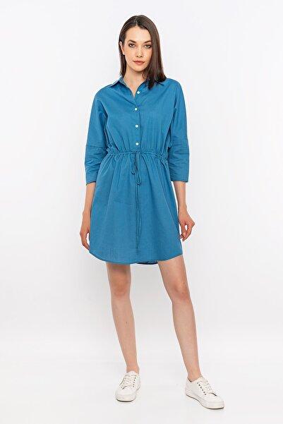 METKON Indigo Bağcıklı Gömlek Elbise