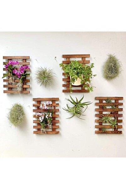 Nedaby Ahşap Dekoratif Tasarım 4'lü Çiçeklik Raf Saksı Standı