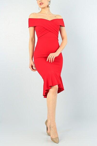 tknfashion Kırmızı Çapraz Tasarım Etek Ucu Kiloş Astarlı Midi Boy Abiye Elbise Gos-3