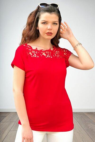 MODANİCE Kadın Kırmızı Robası Güpür Bluz