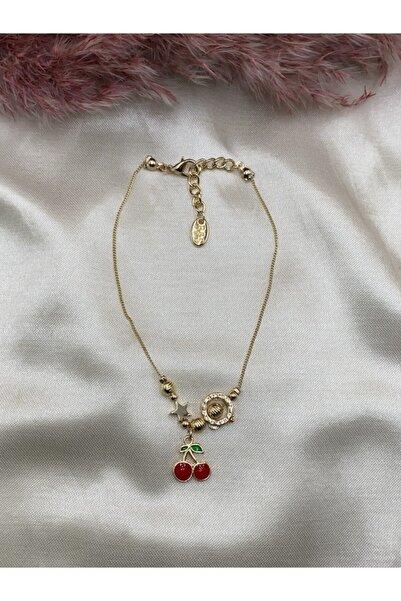 Eylülün Takısı Kadın Altın Renk Yıldız Ve Kiraz Modeli Halhal