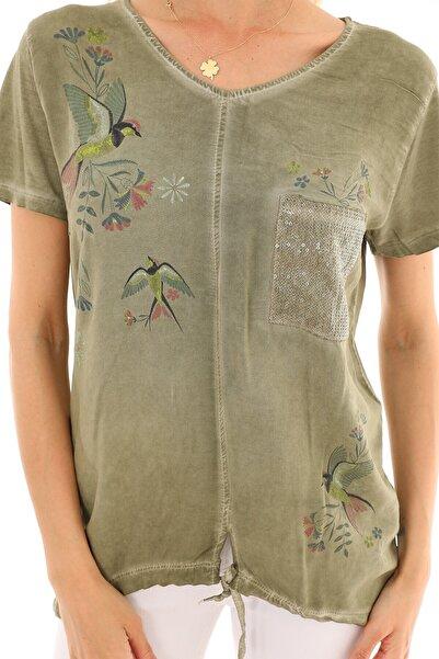 Alışveriş Sokağı Viskon Kumaş Kuş Çiçek Baskılı Yazlık Salaş Kadın Bluz
