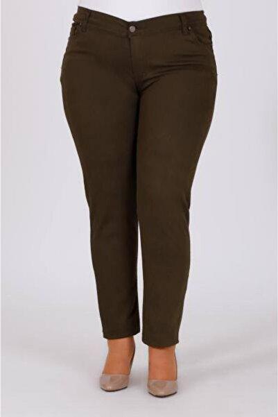 VEPAŞ Koyu Kahverengi Büyük Beden Dar Paça Keten Pantolon