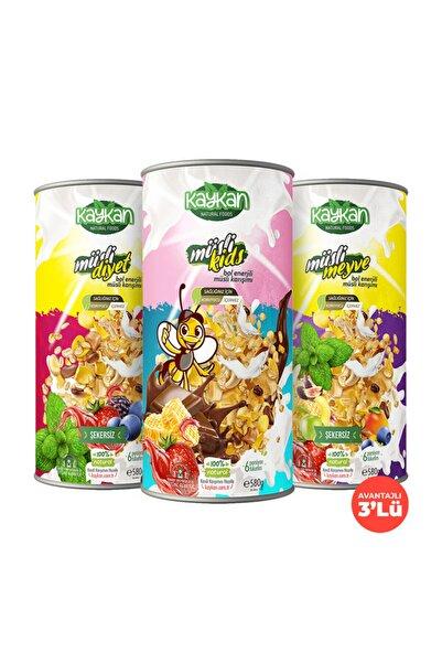 Kaykan Natural Foods Kaykan Müsli Kids + Müsli Meyve + Müsli Diyet Granola 580gr 3'lü Paket