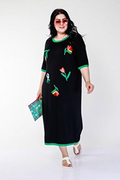 Kadın Büyük Beden Renkli Lale Işlemeli Siyah Elbise