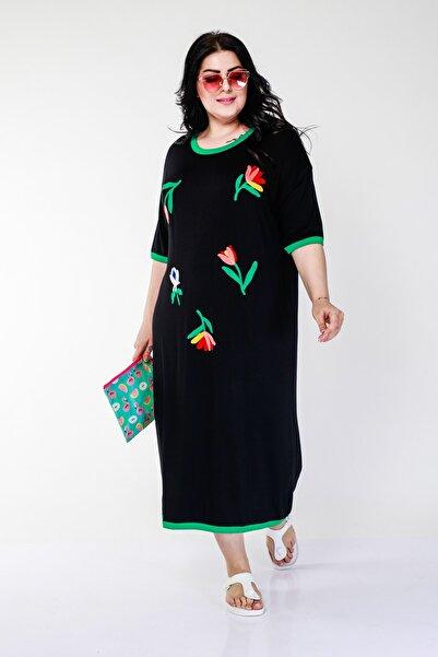 Ebsumu Kadın Büyük Beden Renkli Lale Işlemeli Siyah Elbise