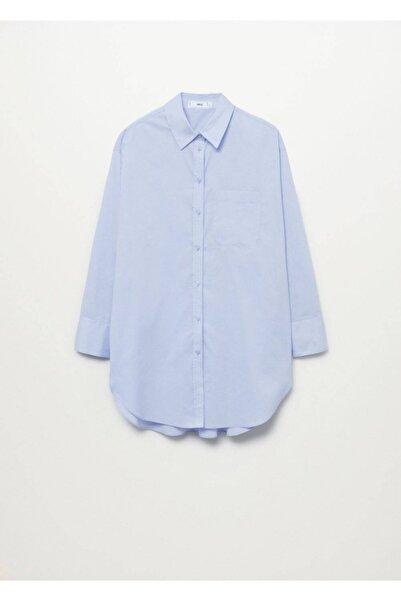 MANGO Woman Kadın Gök Mavisi Göğsü Cepli Koton Gömlek