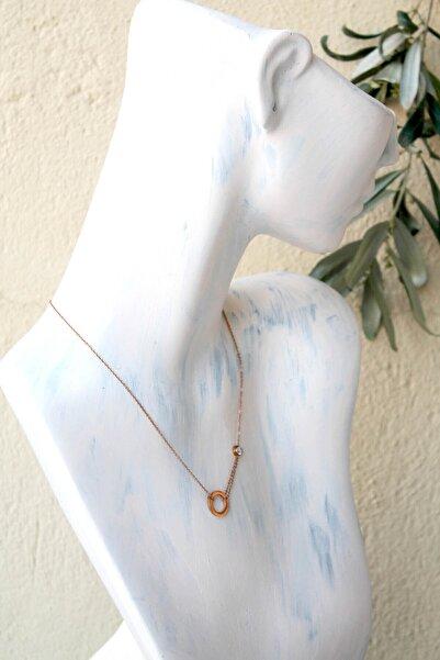 Bukika Zirkon Taşlı Rose Minimal Çelik Kolye