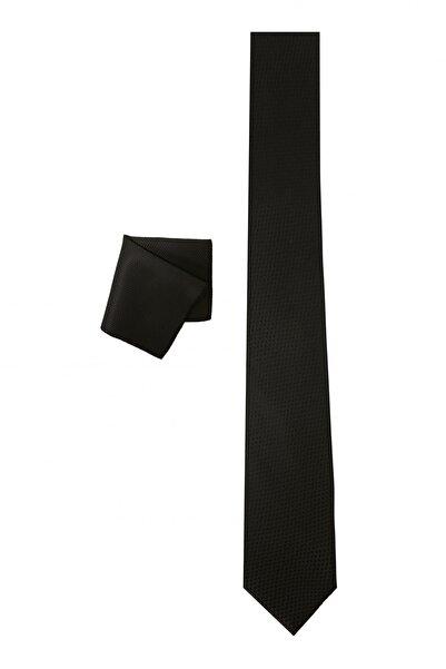 ALTINYILDIZ CLASSICS Erkek Siyah Nano Kravat-Mendil Set