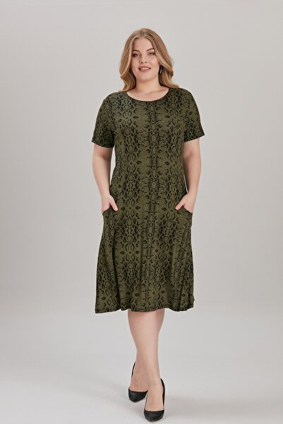 For Big Trend Çiçek Desen Cepli Kısa Kol Örme Elbise