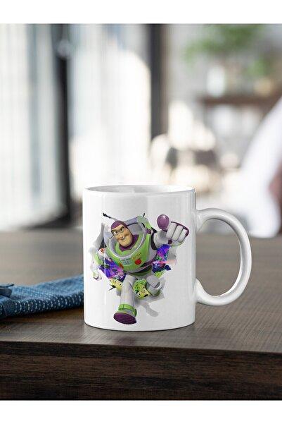 Kio Kupa Dizi Toy Storty Buzz Lightyear Baskılı Kupa Beyaz Porselen Mug