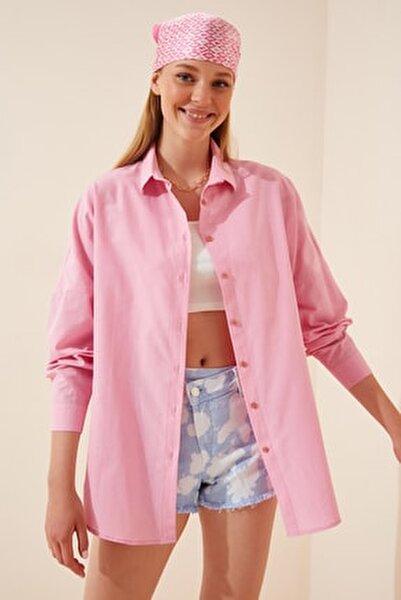 Kadın Pembe Oversize Uzun Basic Gömlek  DD00842