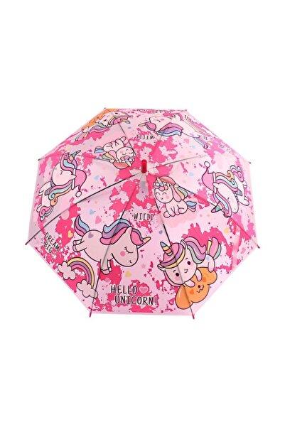 buradanaldım Çocuk Şemsiyesi Düdüklü Fuşya Hello Unicorn Model