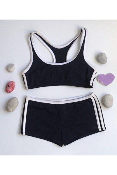 Kom Kız Çocuk Sporcu Bikini Lacivert Şortlu Bikini