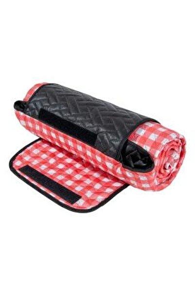 Çantalı Piknik Örtüsü 150x160 Cm Kırmızı Su Geçirmez Taban