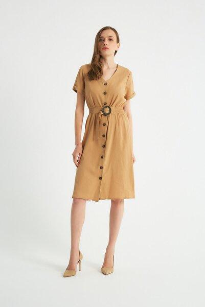 Robin Düğmeli Kemer Detaylı Elbise Camel