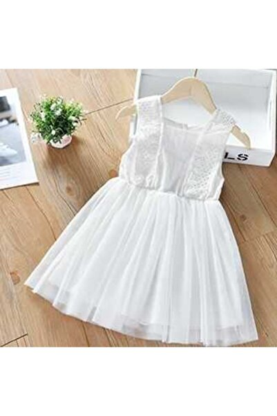 Little Honey Bunnies Fisto Detaylı Beyaz Tül Elbise