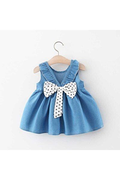 Little Honey Bunnies Puantiye Fiyonk Detaylı Mavi Elbise