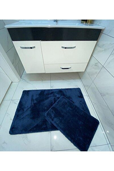 Sarar Peluş Banyo Paspası Takımı 2'li Küçük Boy Jel Kaymaz Taban Post 80x50 - 50x40 - Petrol Mavisi