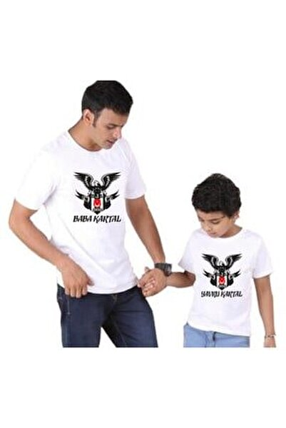 Baba Oğul Baba-yavru Kartal Beyaz Tshirt ( Tekli Üründür Kombin Yapılabilir Fiyatları Ayrı Ayrıdır)