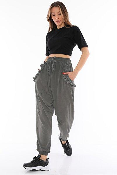 Alışveriş Sokağı Çiçek Desenli Viskon Kumaş Kadın Şalvar Pantolon