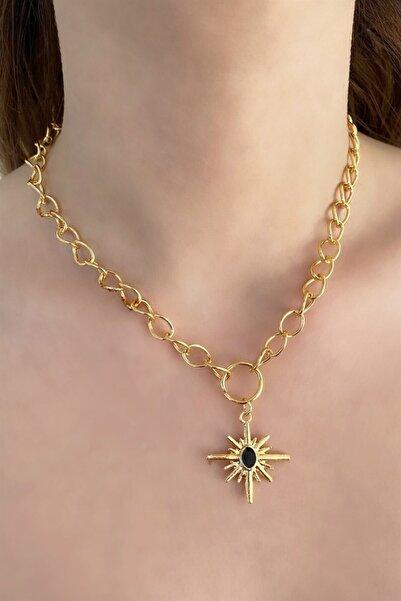 TAKIŞTIR Altın Renk Siyah Kutup Yıldızı Figürlü Zincir Kolye