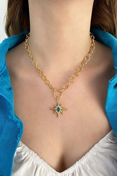 TAKIŞTIR Altın Renk Açık Mavi Kutup Yıldızı Figürlü Zincir Kolye