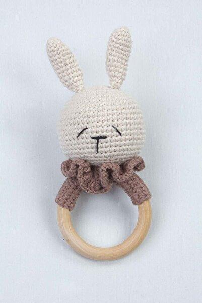 Modakids Krem Organik El Yapımı Amigurumi Tavşan Çıngırak Oyuncak