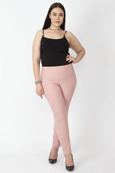 Şans Kadın Pembe Gizli Kemer Yan Fermuarlı Klasik Pantolon
