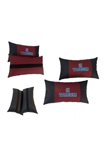 Trabzonspor Trabzon 61 Deri 2'li Set Oto Koltuk Boyun Yastığı Araba Araç Koltuk Seyahat Yastık
