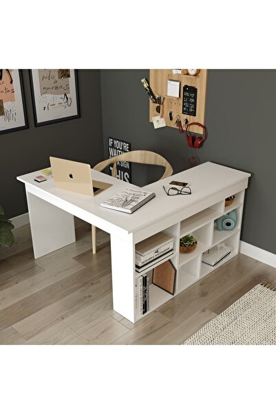 Robin Home Boston Kitaplık Raflı Çalışma Masası L Masa Ofis Masası