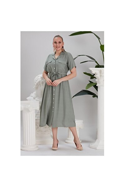RMG Bel Bağcık Detaylı Düğmeli Büyük Beden Elbise