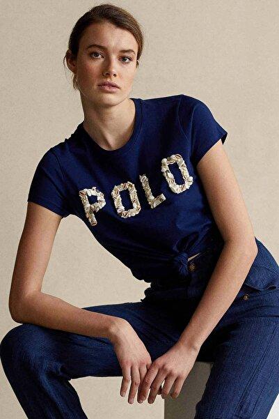 Polo Ralph Lauren Kadın Lacivert Deniz Kabuğu Aksesuarlı Logolu Tshirt