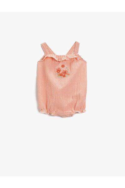 Koton Kız Bebek Kareli Zibin Firfirli Pamuklu