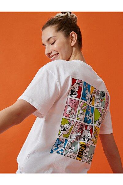 Koton Kadın KIRIK BEYAZ Bugs Bunny  T-Shirt Warner Bros Lisansli Pamuklu