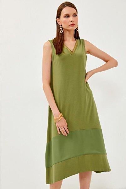 İKİLER Eteği Dokuma Garnili Yakası Süs Şeritli Kolsuz Uzun Elbise 021-2518