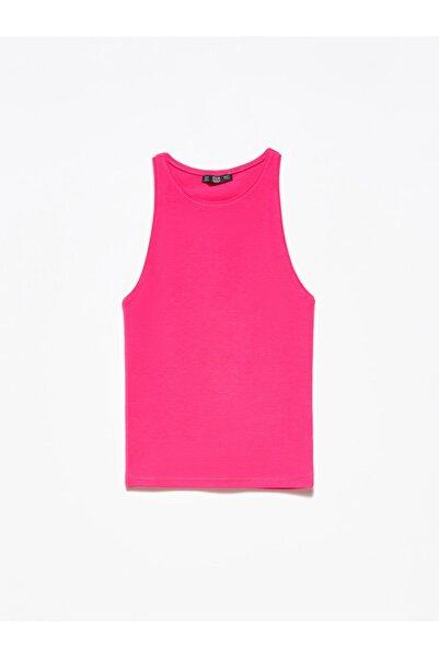 Dilvin 3694 Halter Yaka T-Shirt Koyu Fuşya