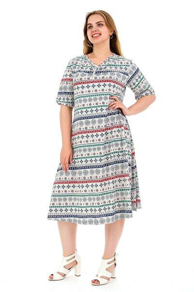 Dükkan Moda Kadın Büyük Beden Elbise Kısa Kollu Gri Karışık Desenli