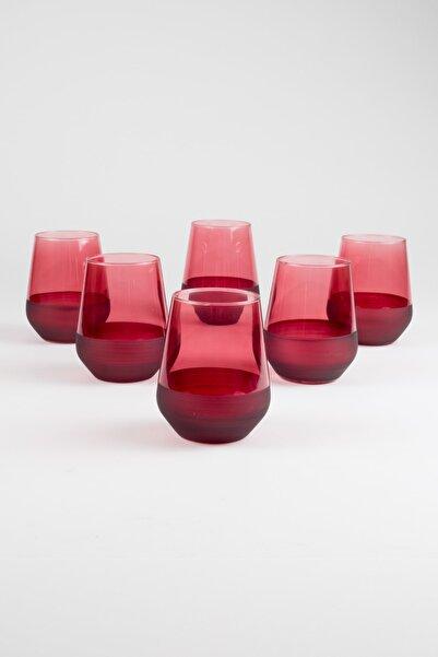 Rakle Matte 6'lı Su Bardağı Seti Kırmızı 425 Cc