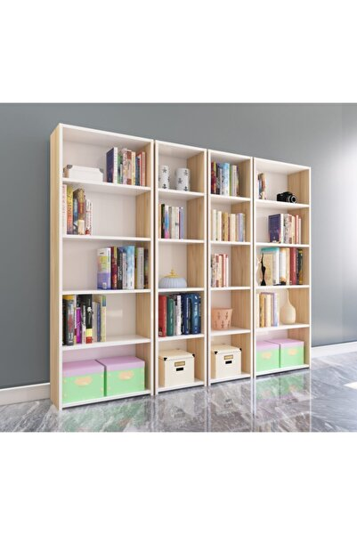 Nur Mobilya 4'lü Arkalıklı Kitaplık Meşe Beyaz