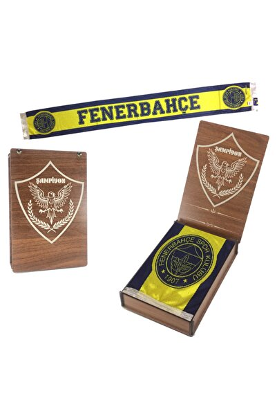 Fenerium Fenerbahçe Lisanslı Şal & Atkı Est 1907 Laci Logo Şal Özel Hediyelik Ahşap Kutulu