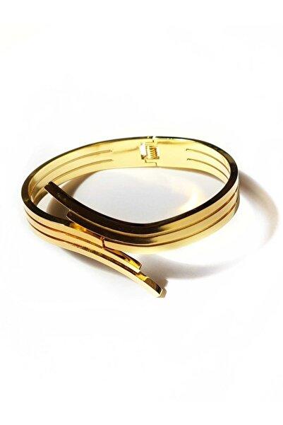 Elegante Altın Sarısı Çelik Kelepçe Bileklik