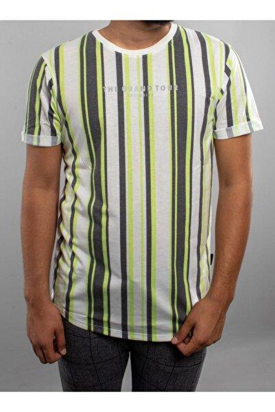 Fabregas Fıstık Yeşili Dikey Çizgiliı Yazı Baskılı Bisiklet Yaka T-shirt
