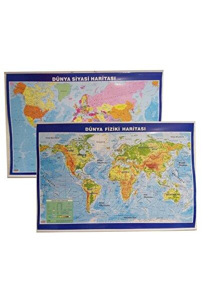 Artı Dünya Haritası Çift Taraflı Fiziki Ve Siyasi 70x100